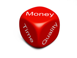 Picture: Red dice with the words MONEY, TIME and Quality showing on each side of the dice.
