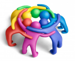 Picture: Multi-colored Icons that look like people in a huddle circle