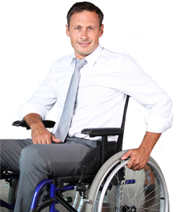 Picture: Professional Business Man in shirt and tie and using a wheelchair