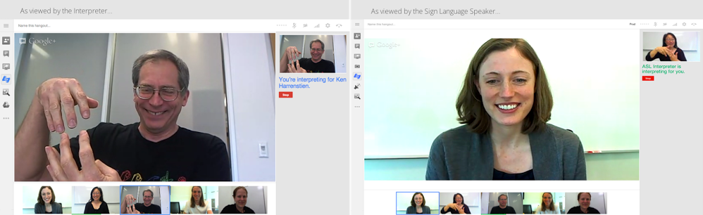 Picture: ichat windows open showing people chatting by ASL using new google asl platform and icameras